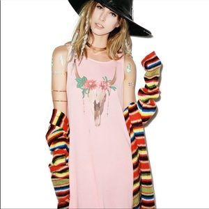 WildFox Pink Salmon Cow Skull Floral Tunic